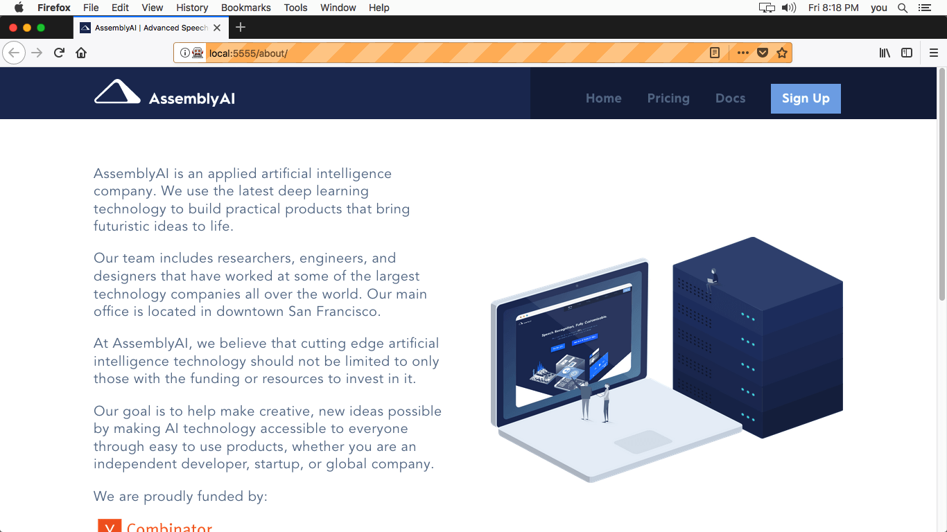 AssemblyAI About Page - After Mac OSX10.13 Firefox 59