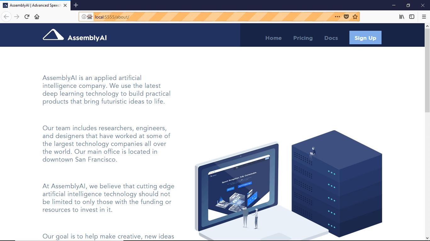 AssemblyAI About Page - Before Windows 10 Firefox 60